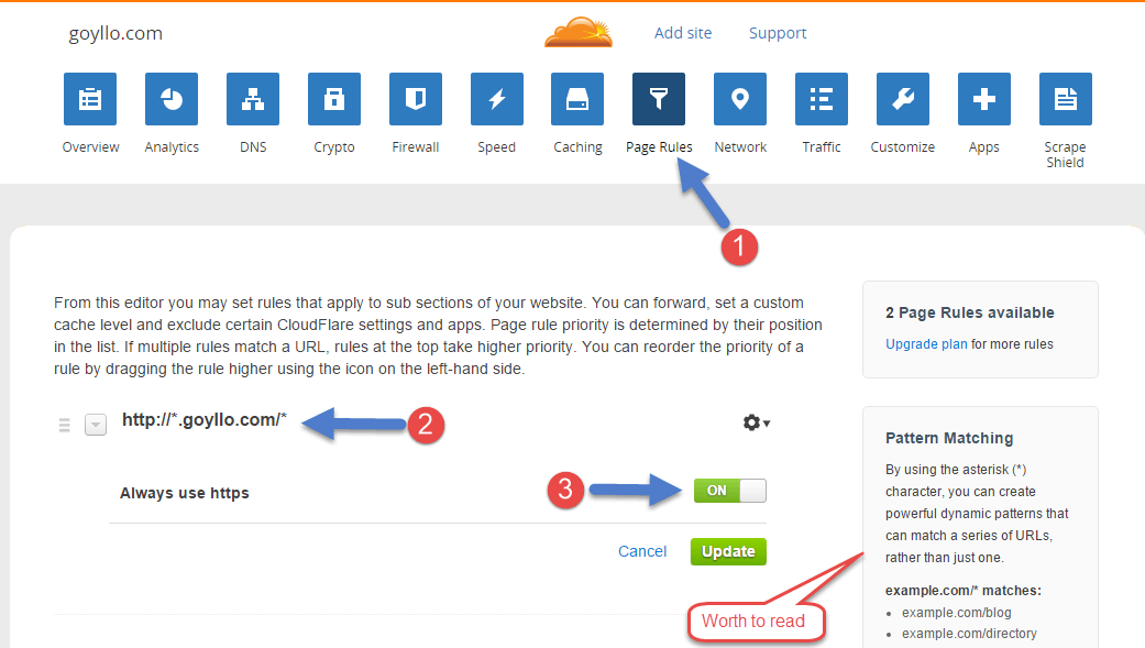 Set Page Rules in Cloudflare