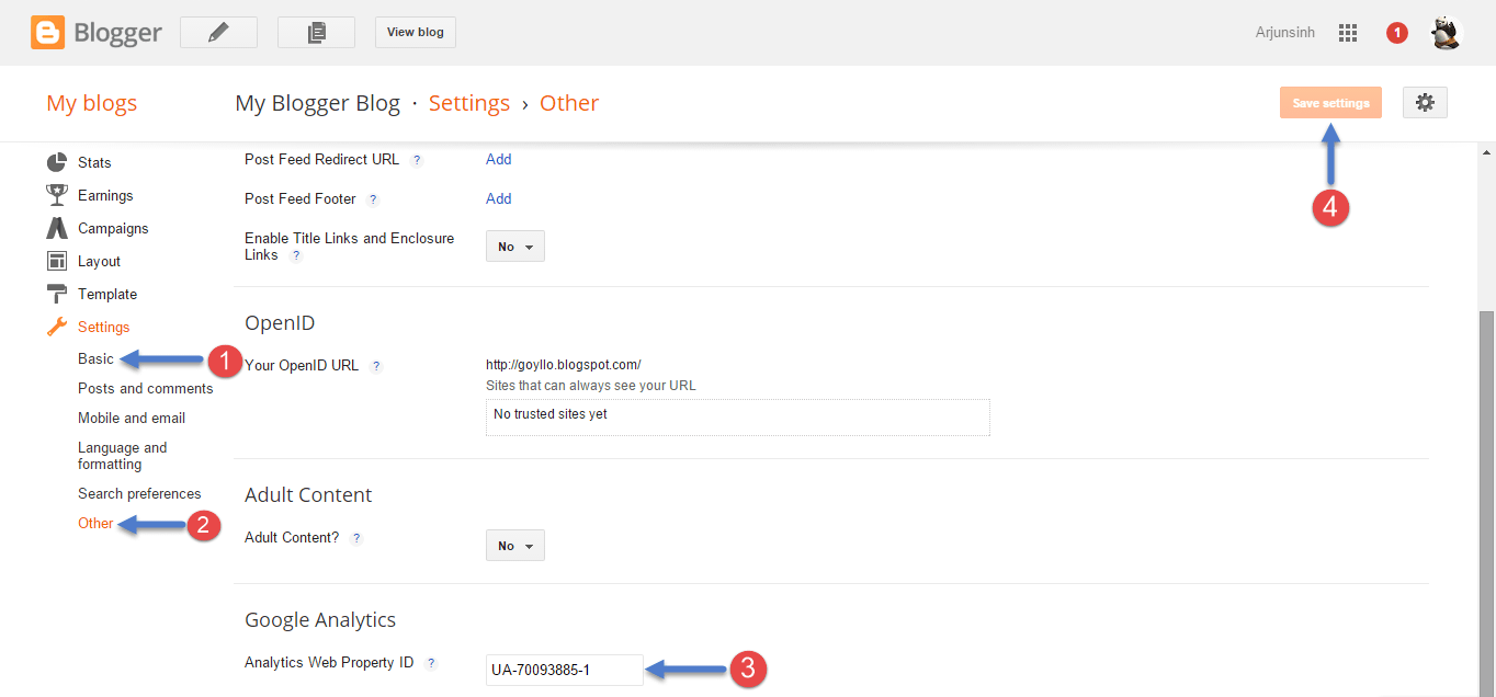Add Google Analytics ID to Blogger Blog