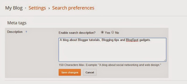 Adding meta description in Blogger homepage