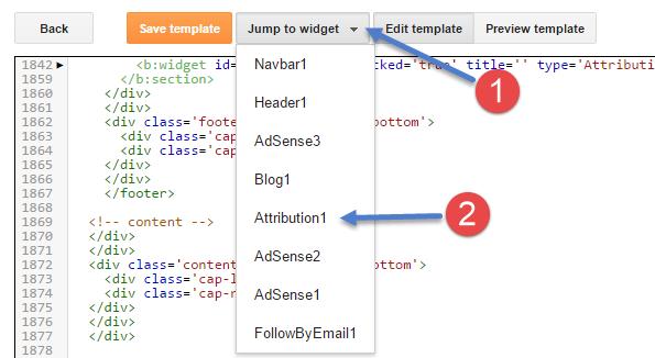 Powered by blogger attribution widget