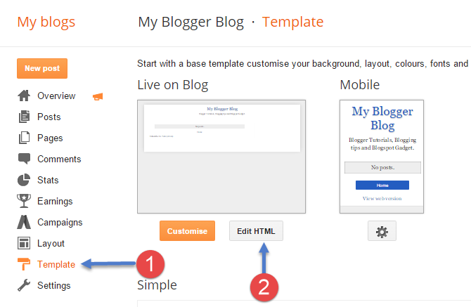 Blogger Template - Edit HTML