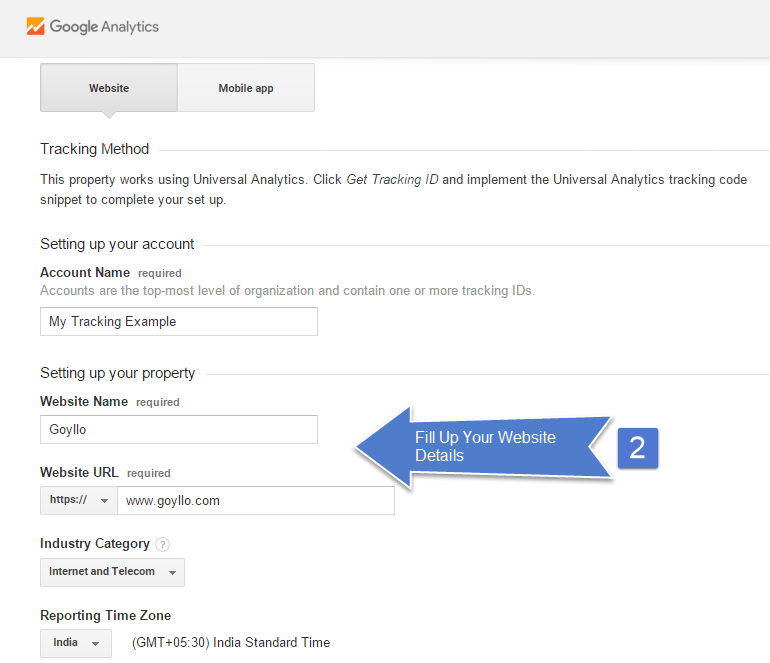 Fill up your website details in Google Analytics