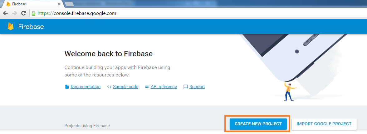 create new project in Google firebase