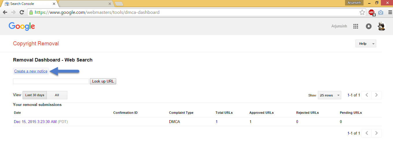 google dmca dashboard