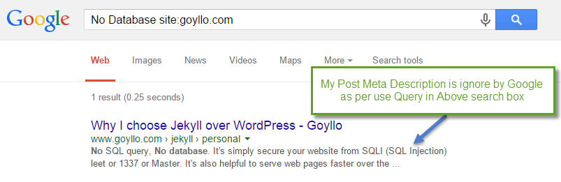 Meta description is ignored by Google as per use query